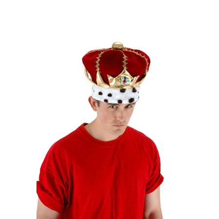 Royal King Red Crown Adult Costume Hat