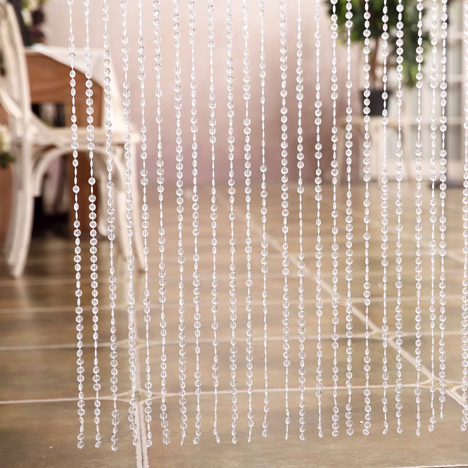 Efavormart PRINCESS-Style Endless Diamond Curtain Backdrops 8ft x 3ft Clear Diamonds w/ Bendable Rod Top
