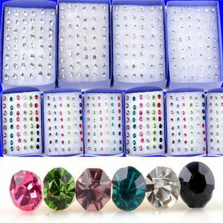 3mm/4mm/5mm Crystal  Stud Earring  Ear  Stud 20 Pairs/Pack  Multicolor 3MM ()