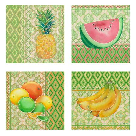 Fun Ikat Pattern Lemon Limes Pineapple Watermelon and Banana Fruit Set; Kitchen Decor; Four 8x8in Poster Prints](Kitchen Decor Sets)