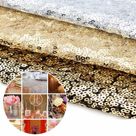 Silver Glitter Table Runner (Silver/Champagne/ Gold Glitter Sequin Table Runner Sparkly Wedding Party Decor)