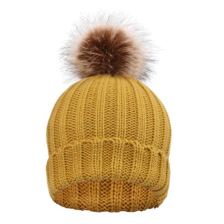 edec174f0 BASILICA - Women Mother Baby Child Fur Pom pom Ball Knit Crochet ...