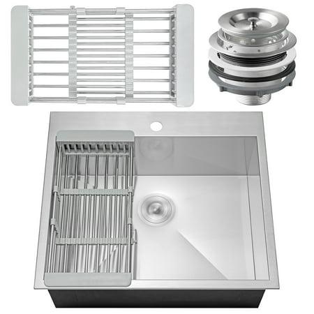 "AKDY 25"" x 22"" x 9"" Stainless Steel Top Mount Kitchen Sink 18 Gauge Single Basin w/ Tray Strainer Kit"