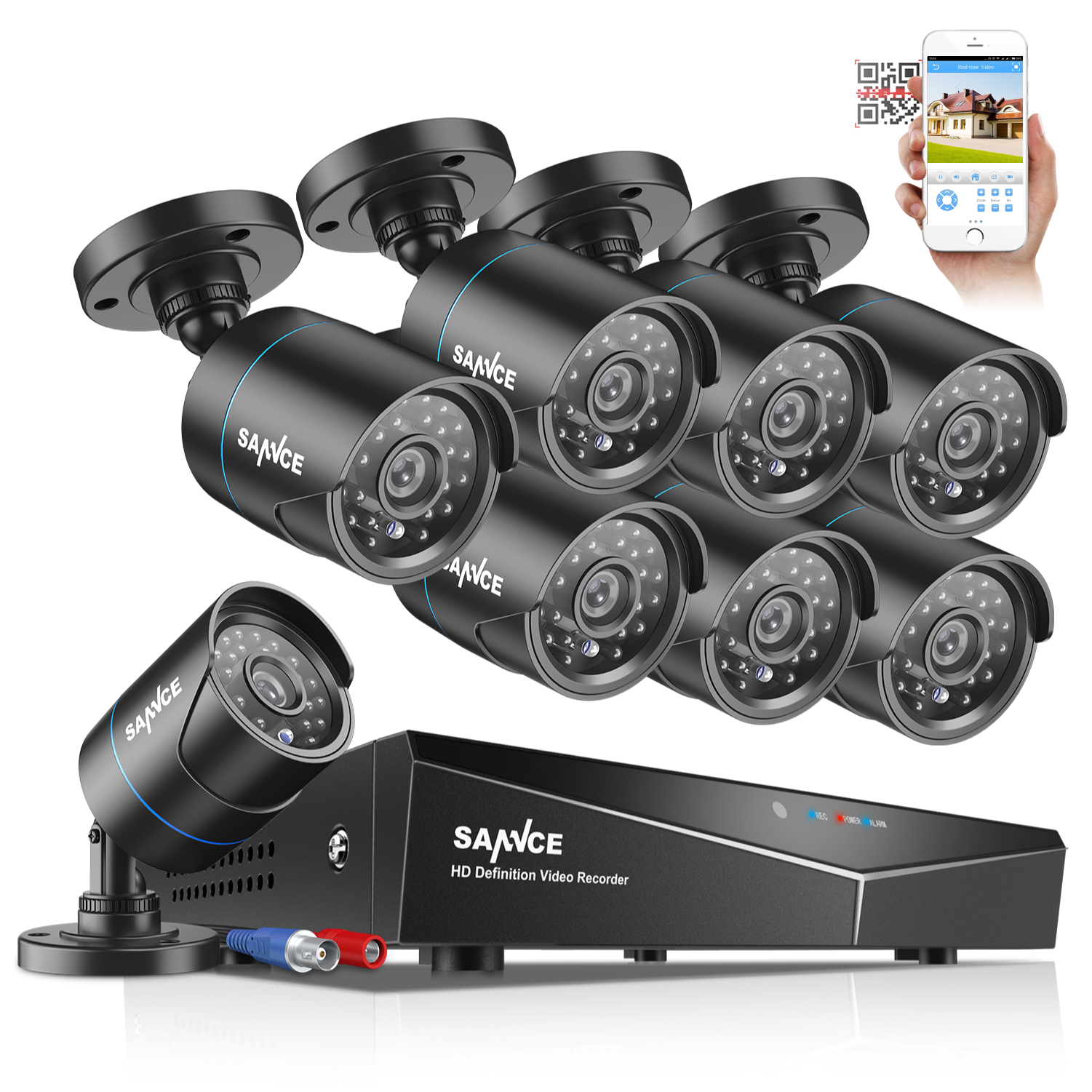 SANNCE HD 1080P HDMI 8CH DVR 720p Outdoor CCTV Home Security Camera System 1TB