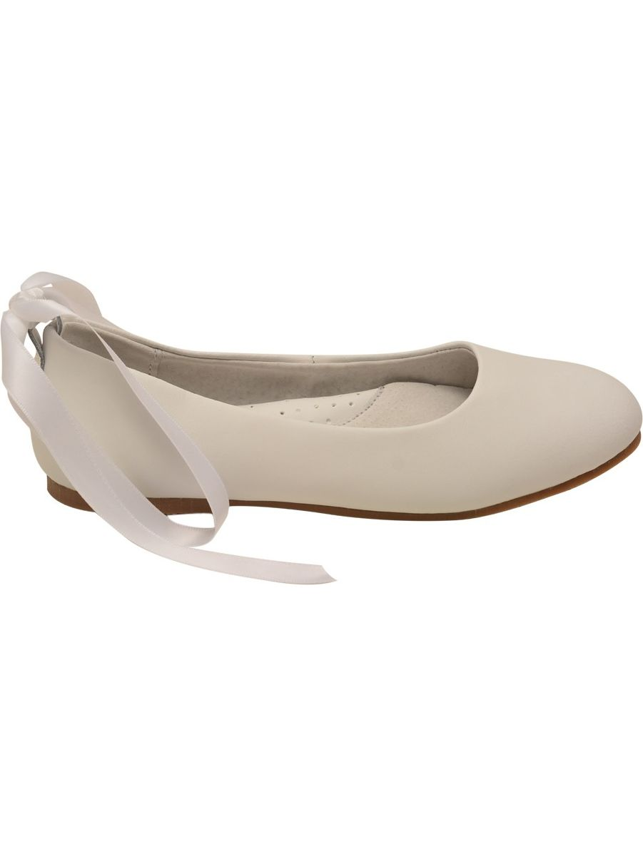 L'Amour Satin Girls White Leather Removable Satin L'Amour Strap Flats 27ddd1