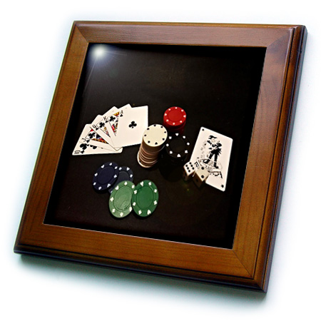 3dRose IMage of Poker Hand With Chips On Black Framed Tile, 6 by 6-inch by 3dRose