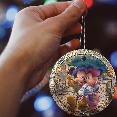 Disney Mickey And Minnie Paris Sweetheart Christmas Holiday Glass Ornament ()