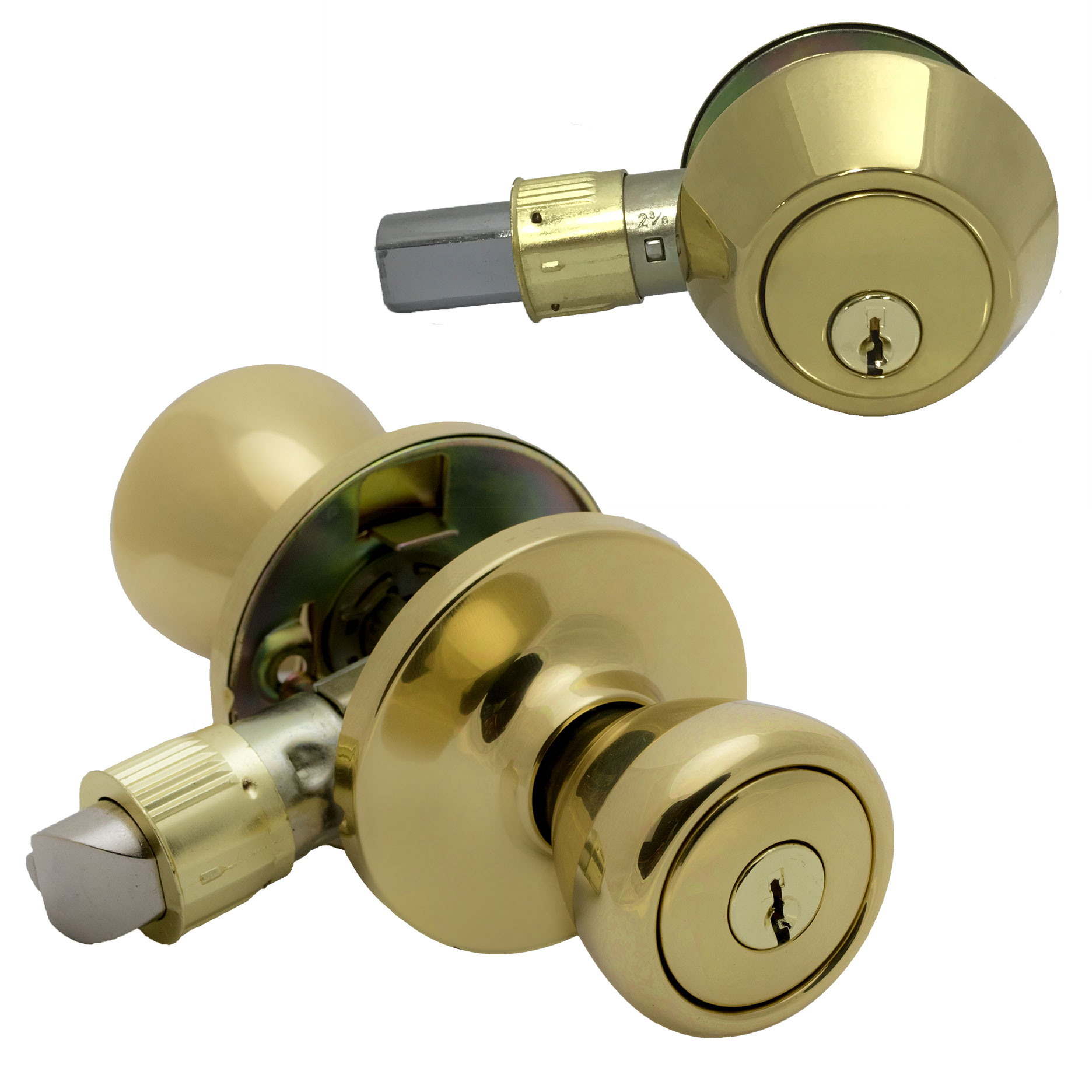 Pro Grade Classic Mobile Home Keyed Entry Door Knob And Deadbolt Combo,  Polished Brass
