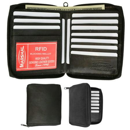 Mens Genuine Leather Bifold Wallet Slim Hipster Cowhide Credit Card ID Zipper Bk