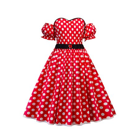 Plus Size Women Vintage Dress Polka Dot 50s Rockabilly Swing Pinup Housewife Retro Dresses With Belt Off Shoulder Party Cocktail - Plus Size 50s