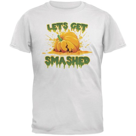 Halloween Pumpkin Lets Get Smashed White Adult T-Shirt](Halloween Crafts For Adults Let Imagination)