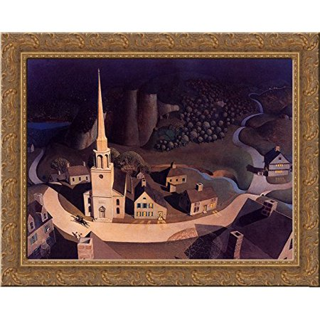 The Midnight Ride of Paul Revere 24x20 Gold Ornate Wood Framed Canvas Art by Grant Wood ()