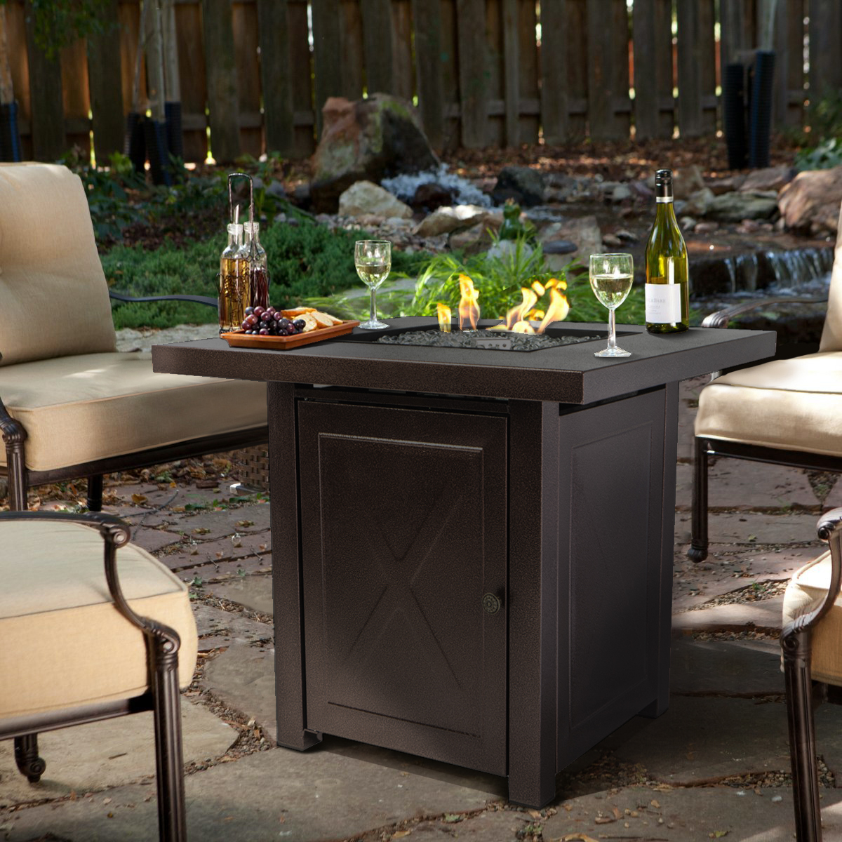 Barton Fire Pit Table Gl Fireplace Garden Outdoor Patio Heater Firepit With Lid 46 000btu