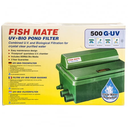 Fish mate gravity 8w uv bio pond filter biological for Fish pond water filtration system