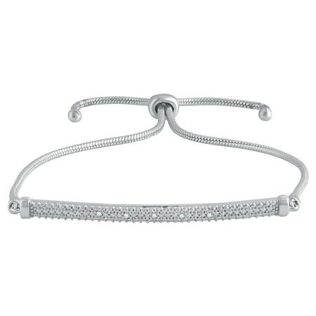 Diamond Bar Accent (Diamond Accent Silver over Brass Adjustable Bolo Bar Bracelet,8.5 Inch.)