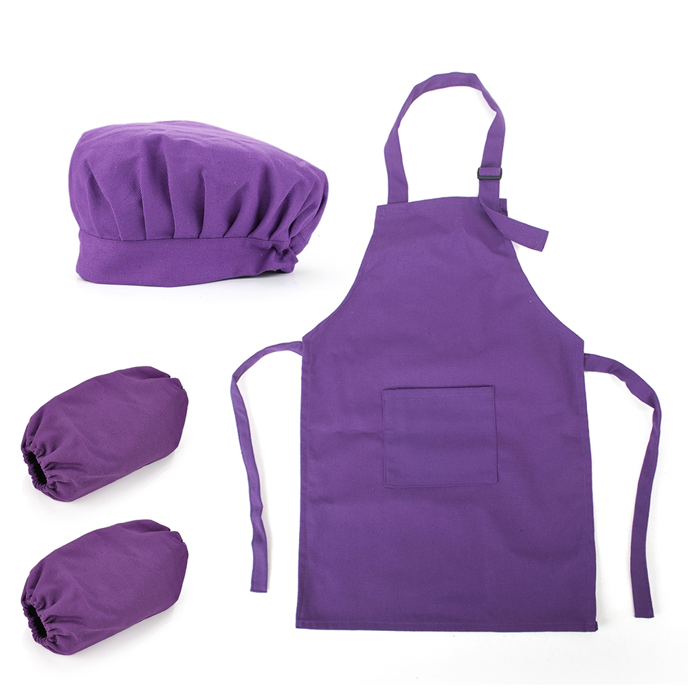 Opromo Colorful Cotton Canvas Kids Apron, Chef Hat and Oversleeve Set, Party Favors(S-XXL)-BLACKDOT-L