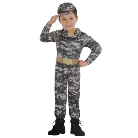Infant & Toddler Boys Army Muscle Costume Camo Soldier Uniform
