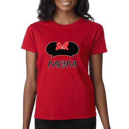 Trendy USA 1148 - Women's T-Shirt Mom Mother Minnie Ears Polka Dot Bow XS