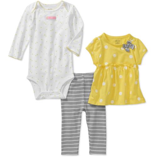 Child of Mine by Carters Newborn Girls' 3-Piece Bee Dot Shirt, Bodyduit and Legging Set