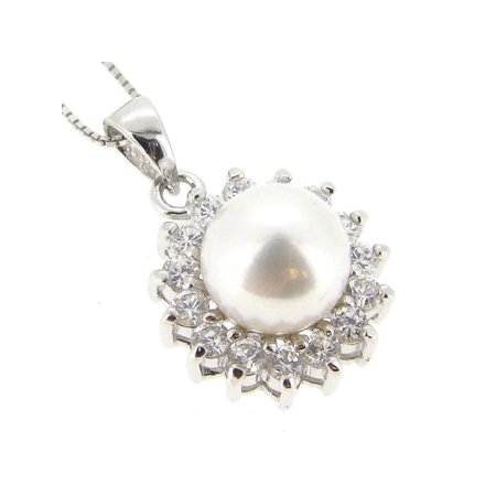 Sterling Silver White Freshwater Cultured Pearl (8.5mm) and Cubic Zirconia Pendant Necklace, (Cultured Pearl Zirconia Necklace)