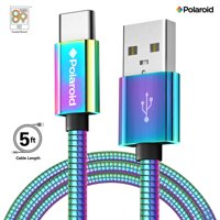 Polaroid USB Type-C Fast Charger 5Ft | USB C Spiral Metal Cable with Aluminum Housing for Android Devices - Iridescent