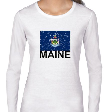 Maine State Flag   Special Vintage Edition Womens Long Sleeve T Shirt