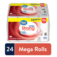 24 Mega Rolls of Great Value Ultra Strong Toilet Paper