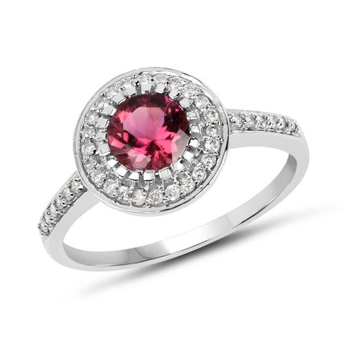 1.29 ct. Genuine Pink Tourmaline & White Diamond 10K White Gold Ring by DAZYLE