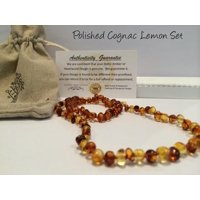 Baltic Amber Teething Necklace Bracelet SET 12.5 5.5 Baby Toddler