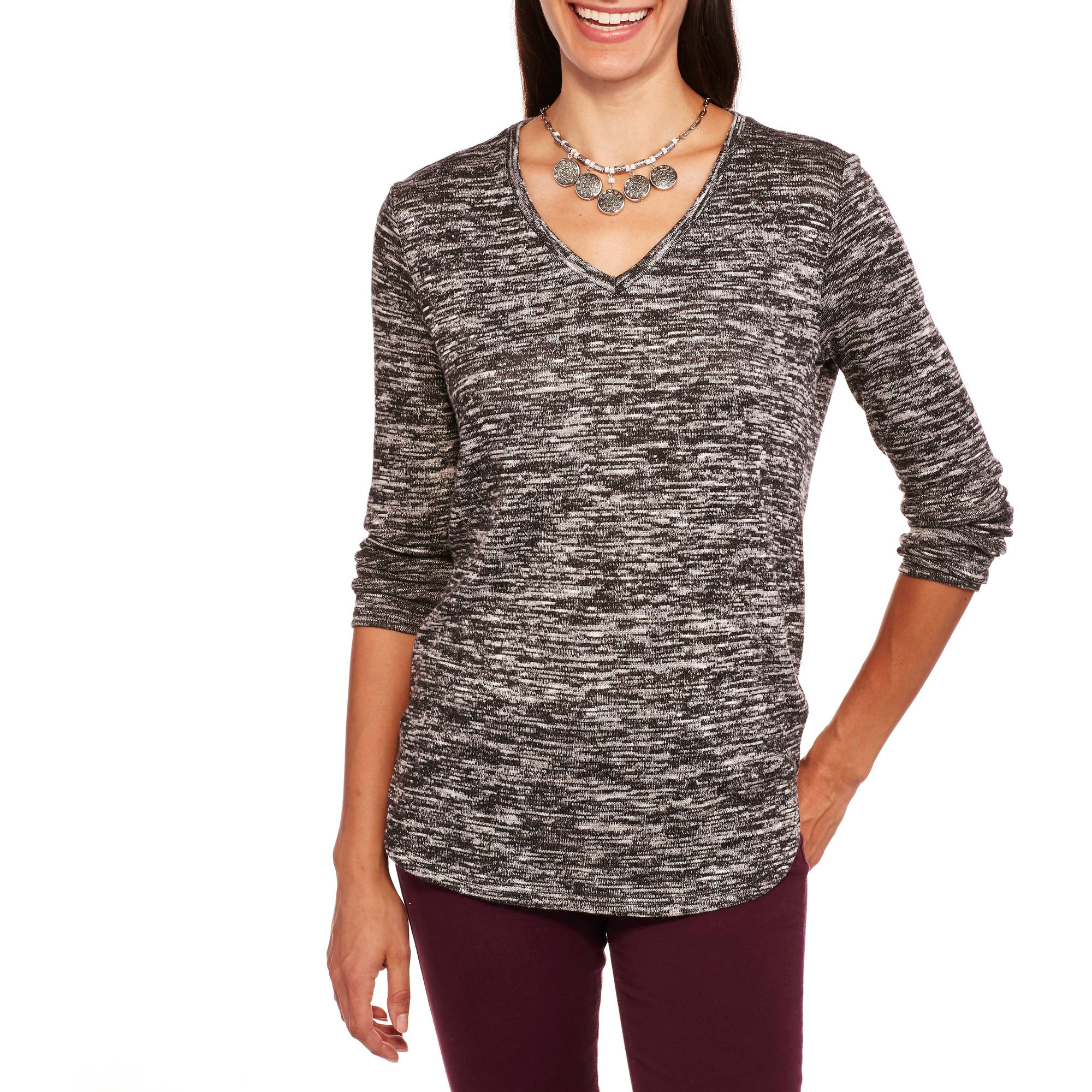 Faded Glory Women's Textured Hi-Lo V-Neck Top