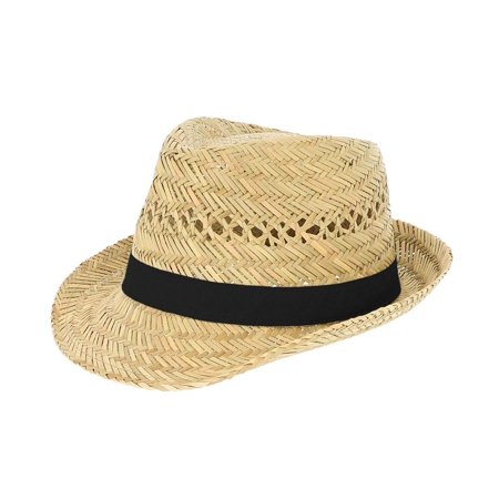 c5449889173 Brown Straw Fedora Hat with Colored Ribbon - Walmart.com