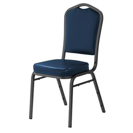 Vinyl Padded Stack Chair - National Public Seating 9304-SV Deluxe Vinyl Upholstered Padded Stack Chair, Midnight Blue & Silvervein