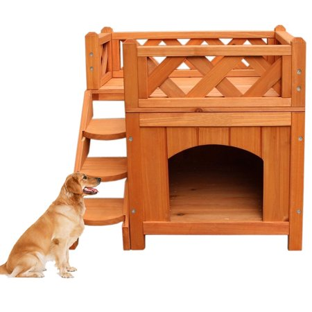 Zimtown Pet Wooden House / Cat House/Condo/Shelter with Balcony 2 Layers Wood Color