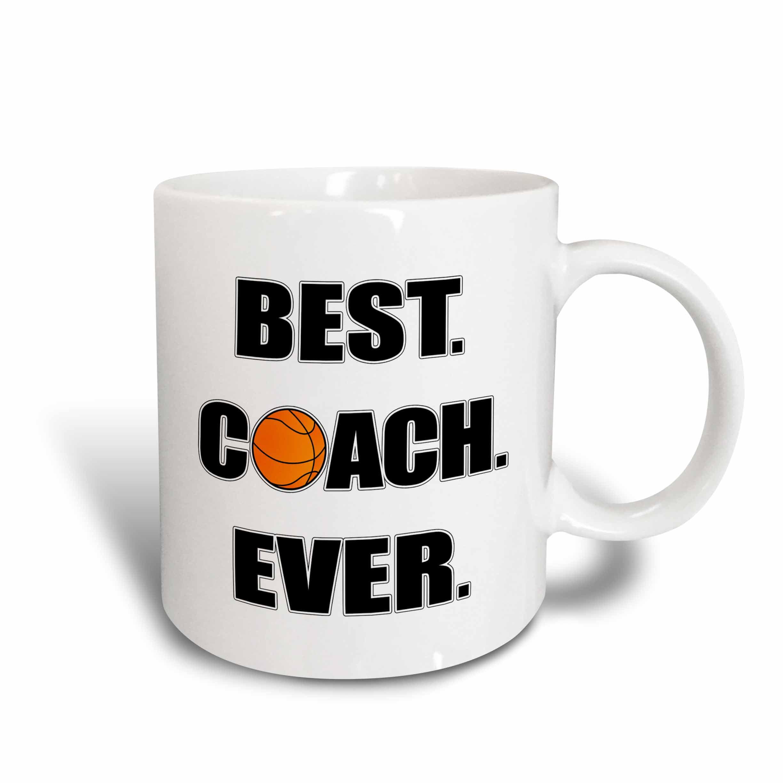 3dRose Basketball Best Coach Ever, Ceramic Mug, 11-ounce