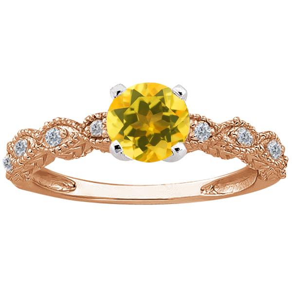 0.80 Ct Round Yellow Citrine 14K Rose Gold Ring