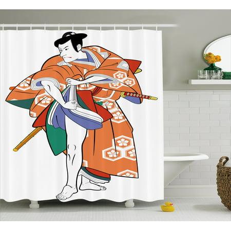 Kabuki Mask Decoration Shower Curtain, Kabuki Actor with Traditional Costume Historic Edo Era Drama Culture, Fabric Bathroom Set with Hooks, 69W X 70L Inches, Multicolor, by Ambesonne (Era Costumes)