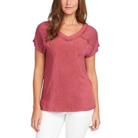 Embroidered Short Sleeve Work Shirt - Gloria Vanderbilt Womens Short Sleeve Embroidered Top (Dry Rose, Medium)