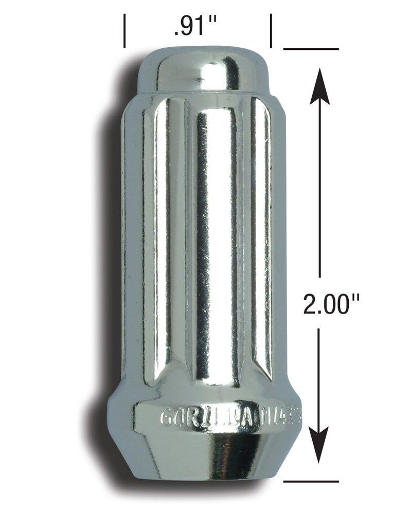 14mm X 1.50 Thread Size -Pack of 24 Gorilla Automotive 26144HT Small Diameter Duplex Acorn Chrome 6 Lug Kit