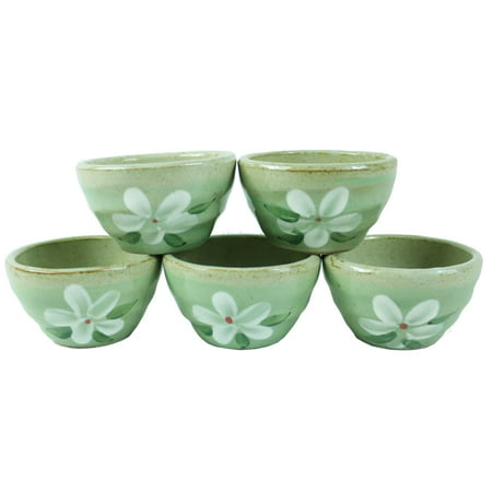 Handmade Ceramic Pottery Porcelain Teacup Set Glazed Tea Serving Gift Set, (5 Pack, 2.5 oz)