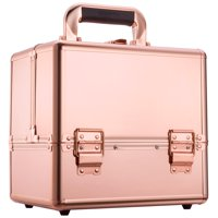 "Ollieroo Makeup Train Case Rose Gold 9.8"" Aluminum Makeup Cosmetic Artist Organizer with Lock"