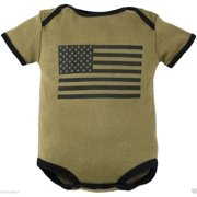 Olive Drab Green Bodysuit with Large American Flag on Front 9-12M