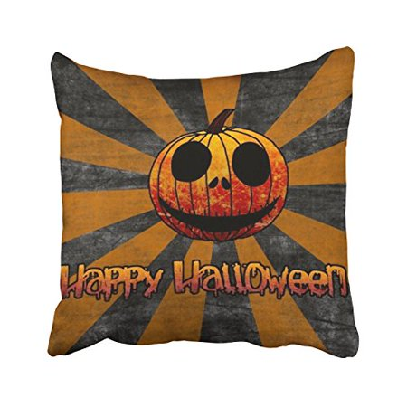 WinHome Happy Halloween Scary Pumpkin Orange And Grey Radial Stripes Decorative Pillowcases With Hidden Zipper Decor Cushion Covers Two Sides 18x18 inches