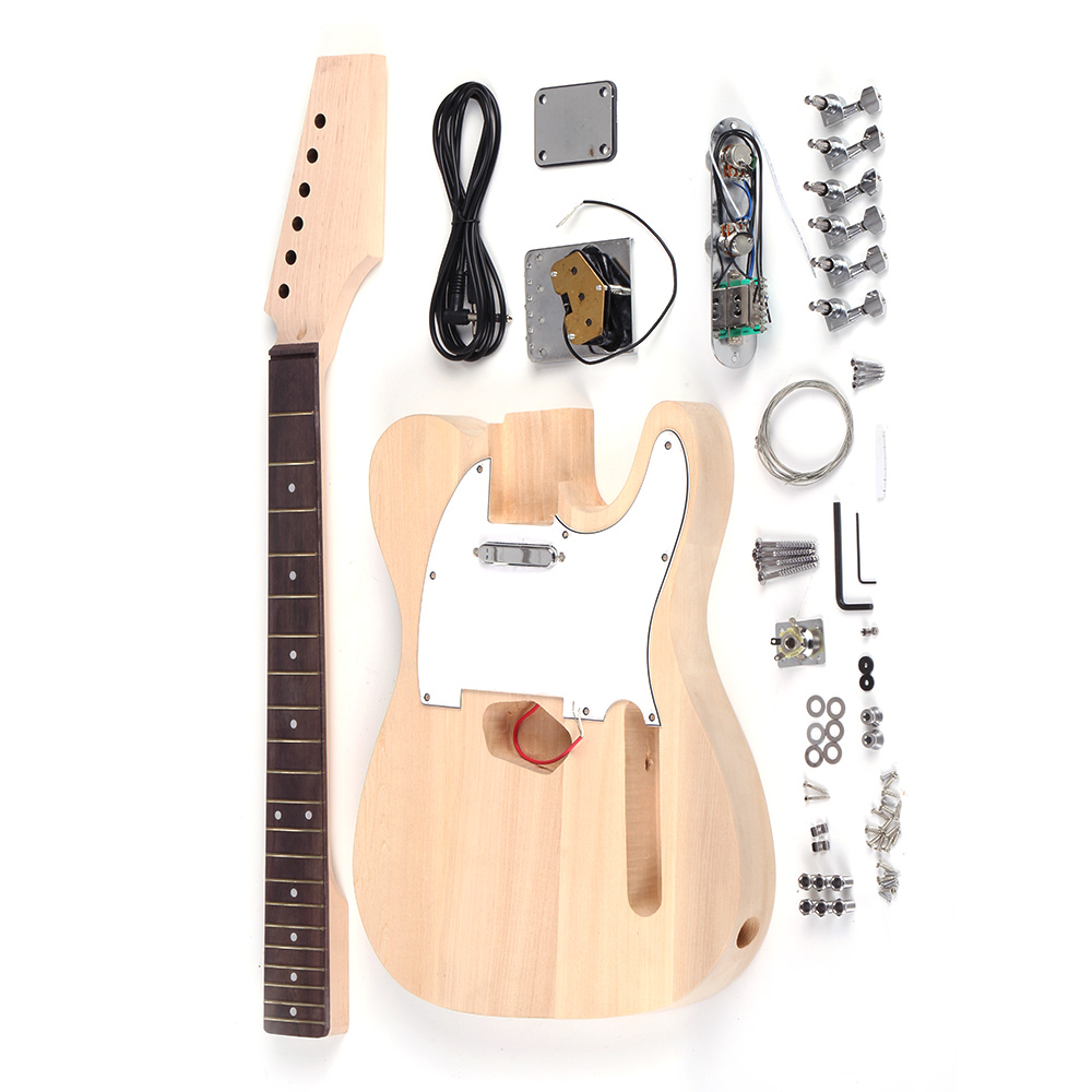KKmoom Tele Style Unfinished DIY Electric Strat Guitar Kit Basswood Body Maple Neck Rosewood Fingerboard
