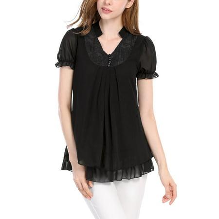 Pleated Flounce - Women Short Sleeves Flounce V Neckline Pleated Tunic Tops Black L (US 14)