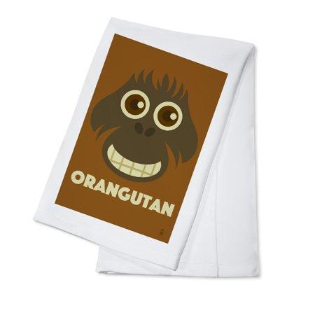 Zoo Faces - Orangutan - Lantern Press Artwork (100% Cotton Kitchen Towel)