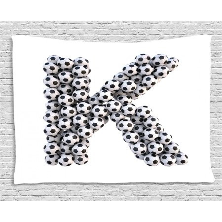 Letter K Tapestry, Alphabet Design with Soccer Balls Composition with Sports Theme Outdoors, Wall Hanging for Bedroom Living Room Dorm Decor, 60W X 40L Inches, Black and White, by Ambesonne Black Fluorescent Outdoor Hanging