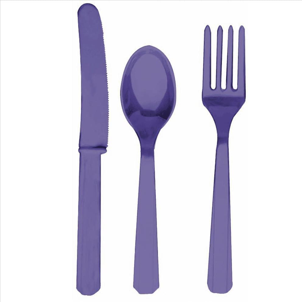 Purple Fork Knife And Spoon Set-Plastic