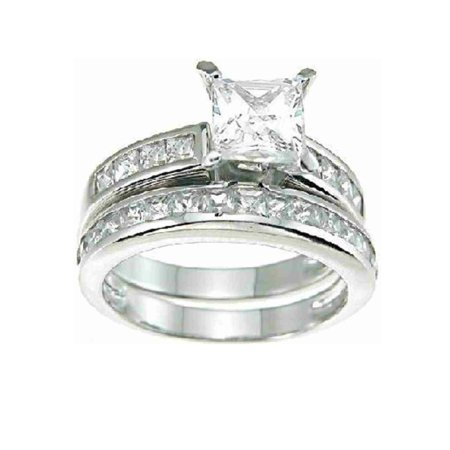 LaRaso Co 2.6 Carat TW Princess Cut CZ Wedding and Engagement Ring Set for Women