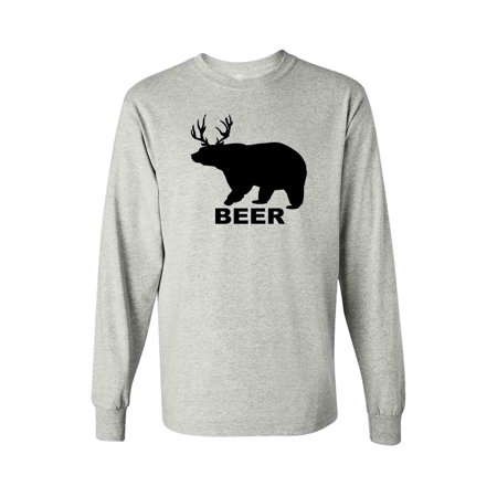 Men's/Unisex Funny Bear? Deer? BEER! Long Sleeve Shirt (Bears Long Sleeve Layered Tee)