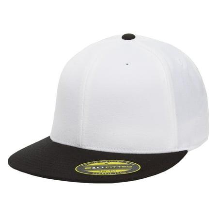 0a02fb3cf4919 The Hat Pros Blank Flexfit 6210 Premium Fitted 210 Cap Large Xlarge - White  Black - Walmart.com